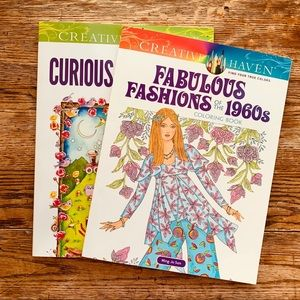 (2) Coloring Books—60s Fashion, Curious Creatures